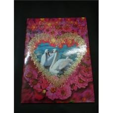 Папка свидетельство Лебеди на розовом №13.60