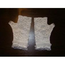 Перчатки белые с бисером, стеклярусом, пайетками, кружевом (18,5см) №52.750