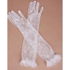 Перчатки сетка цвет: айвори, белые 39см №58.105