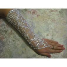 Перчатки белые с пайетками (длина до локтя) 4 №69.295