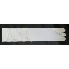 Перчатки белые с бисером и пайетками (на узкую руку) (длина до локтя) 4 №87.540