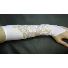 Перчатки белые с бисером и пайетками (длина до локтя) 4 №88.540