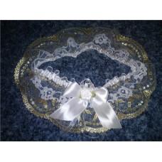 Подвязка белая с золотом SvetikFantasy  №61.300