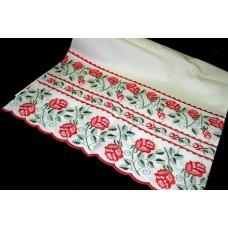 Рушник х/б машинная вышивка цвет: белый Размер 180х42см №40.235