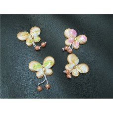 Бабочки аппликация персиковые размер: 33х45мм №90.10