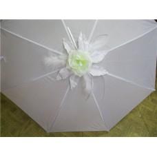Зонт - трость белый Роза- Розовая без пера №18.520