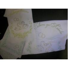 Комплект венчальный 4 предметный со стразами, рельефный цвет:белый с золотом №62.512