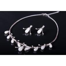 Комплект бижутерии  (колье серьги)   Цвет: серебро №1485.156