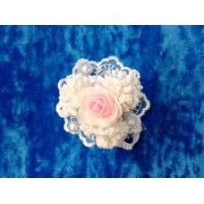 Цветочек-браслет Белый с розовым 8см №1525.54