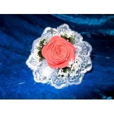 Цветочек-браслет красный 8см (отделка в ассортименте) №1757.55