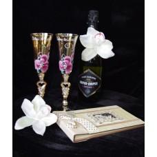 Бокалы для шампанского золото с росписью пара №136.282