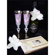 Бокалы для шампанского розовые с серебром пара №137.282