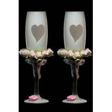 Бокалы Свадебные  с цветами пара №1925.342