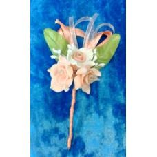 Бутоньерка 11,5х6см SvetikFantasy Цвет: лососевый с белым №1648.176