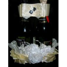Корзинка с ленточкой для шаманского SvetikFantasy айвори ( так же подходит на бутылки Mondoro) №368.518