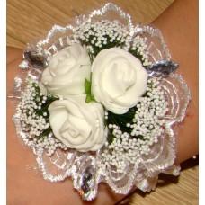Цветочек-браслет Белый 8см №458.48