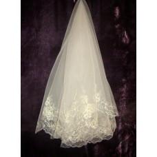 Фата с вышивкой  Размер : 1,5метра Цвета:  айвори №1106.585
