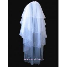 Фата вышивка, пайетки, бисер   4-х ярусная Размер :    1,6метра Цвета:  Белая №1335.5280