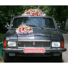 """Комплект кольца на крышу машины и букет на радиатор """"Гламурная полянка"""" №3.3825"""