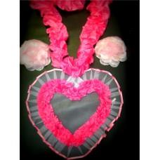 Комплект для украшения машины розовый (Лента на капот- 1шт, украшение на радиатор 1шт, цветы на зеркала или ручки- 2шт) №4.400