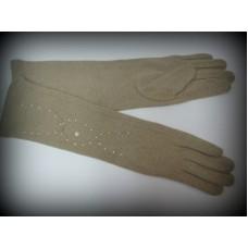 Перчатки бежевые кашемир с узором 31см №373.230