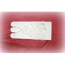 Перчатки с бисером, стеклярусом Белые 12см №465.318