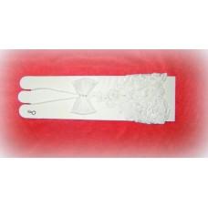 Перчатки сетка Белые с бисером, стеклярусом 18см №468.318