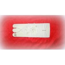 Перчатки с бисером, стеклярусом, стразами 17,5см Цвета: белые №486.383