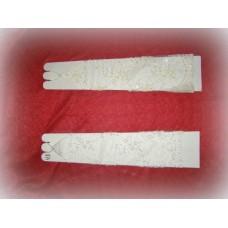 Перчатки  сетка бисер, стеклярус Цвета: Айвори, Белые 39,5см №489.584