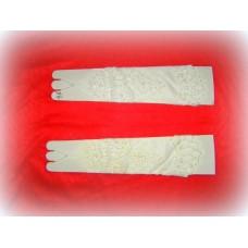 Перчатки  бисер, стеклярус Цвета: Айвори, Белые 37см №491.584
