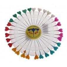 """Булавочница """"Сердечки цветные""""  цвета в ассортименте (Цена за набор) 11х0,3см №1137.20"""