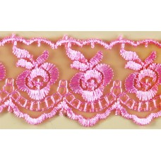 Кружево капроновое темно-розовый  размер: 4см №1252.113 (Цена за 1 метр)
