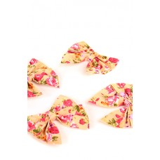Бантик ситец цветы на бежевом (7х8см) №1420.20