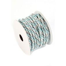 Шнур с бусинками бирюзово-серебряный  (0.55см х 10м) Цена: за 1 метр №1429