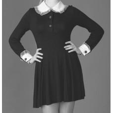 Платье школьное СССР трикотаж  черное с манжетами и воротником размер46 рост 176 №149.989