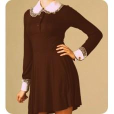 Платье школьное СССР трикотаж  коричневое (без манжетов и воротника) размер44 рост 170 №150.1275