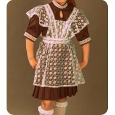 Платье школьное СССР коричневое трикотажное в складку размер46 рост 170 без фартука №151.1750