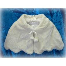 Накидка с помпонами и волнистым нижнем краем  цвет:молоко размер:Free Size №1400.900