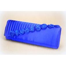 Сумка - клатч из атласа. Синяя