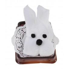 Сувенир полотенце махровое Белый кролик 20*20 см  10,5х8х7,5см №1131.48