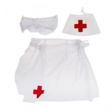 Костюм медсестры, 3 предмета: шапочка, юбочка, нагрудник (текстиль) №2205.235