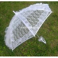 Зонт - трость белый кружевной №11.900