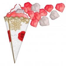 Лепестки роз с кульком, красно-белые