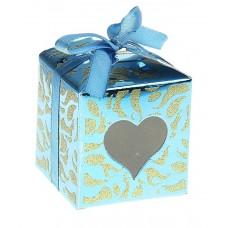 Коробка сборная квадрат сердце волна 6х6х6 см