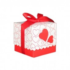 Коробочка сборная Сердца красная