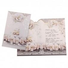 """Открытка """"С днем свадьбы!"""", картинка - белые розы, кольца"""