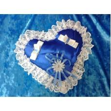 Подушечка для колец Сердце, цвет: синий 22см №5071.120