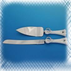 """Набор для торта """"Свадебные кольца"""" из ножа и лопатки с ручками №5046.760"""
