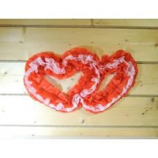 Два сердца для украшения квартиры, зала, стен, штор цвет: красный с розовым №4864.115