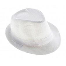 Карнавал шляпа Дискотека с паетками белая, ткань 30х25х15см  №4786.202